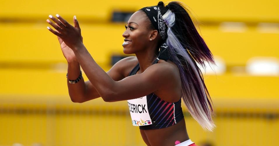 Priscilla Frederick, saltadora de Antigua e Barbuda, ficou com a medalha de prata no salto em altura