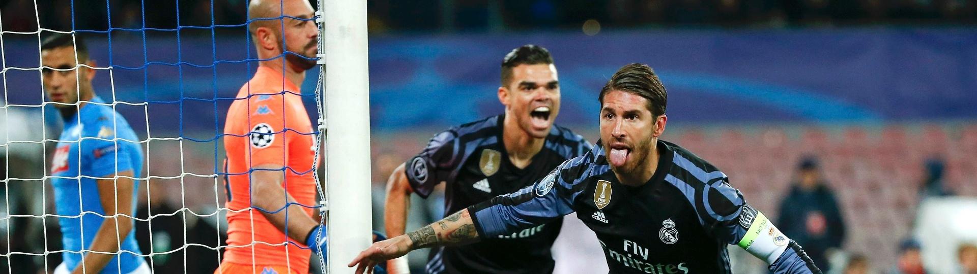 Sergio Ramos comemora gol marcado para o Real Madrid contra o Napoli