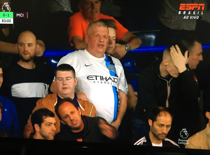 Rogério Ceni na arquibancada da partida entre Chelsea e Manchester City, em Londres