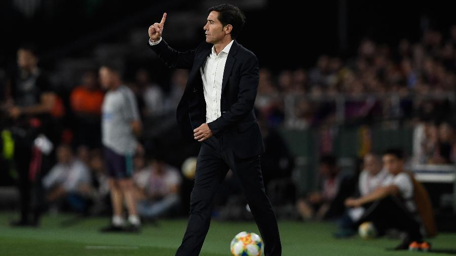 Marcelino Toral, técnico do Valencia, contra o Barcelona, na final da Copa do Rei  - Pau Barrena/AFP