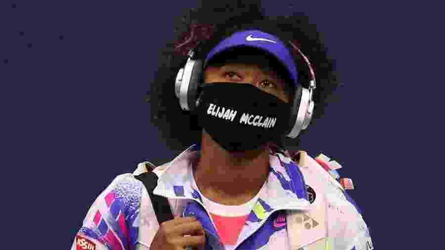 Naomi Osaka na segunda rodada do US Open de 2020 com máscara lembrando Elijah McClain - Getty Images