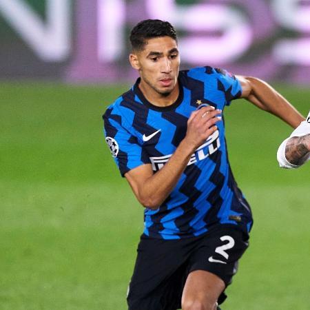 Hakimi em ação pela Inter contra o Real, na Champions League - Getty Images