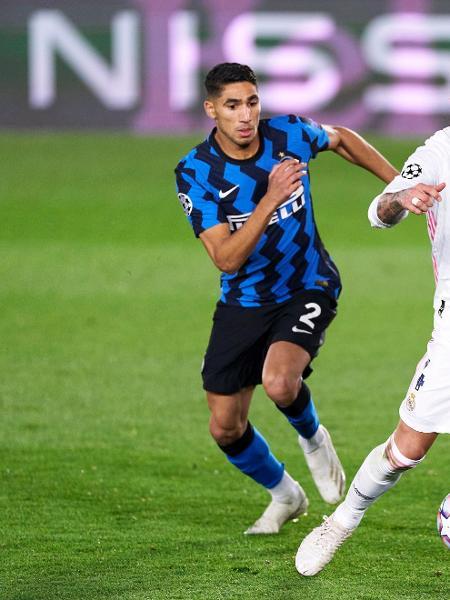 Achraf Hakimi na partida entre Real Madrid e Inter de Milão, pela Liga dos Campeões - Getty Images