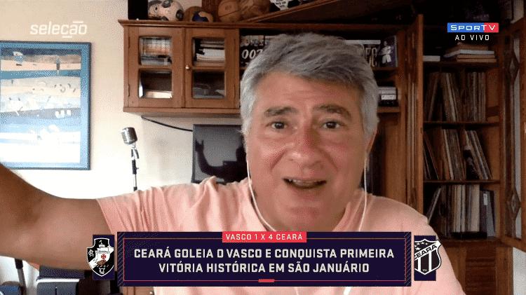Cléber Machado foi atrapalhado por trovões durante o Seleção SporTV - Reprodução/SporTV - Reprodução/SporTV
