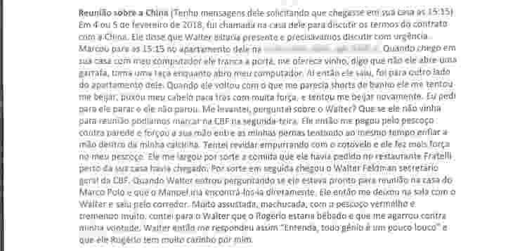 Trecho em que ex-funcionária da CBF denuncia assédio de Rogério Caboclo - 1 - Reprodução - Reprodução