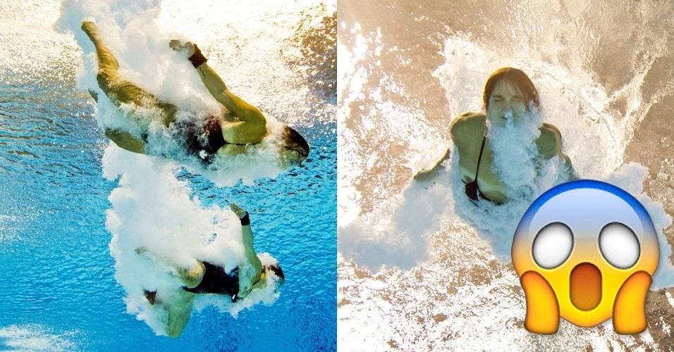 OMG! Saltadoras canadenses Meaghan Benfeito e Roseiline Filion (à esquerda) e Pamela Ware sofrem com a perda parcial do maiô