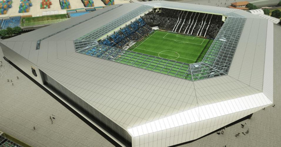 Vista geral da Arena Santos, segundo projeto