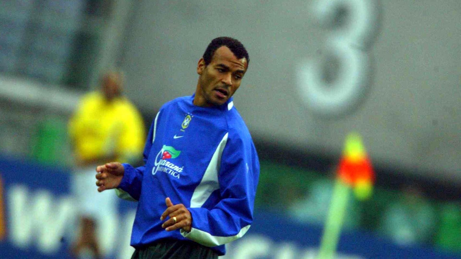 Cafu, lateral da seleção brasileira, durante treina da seleção na Copa de 2002