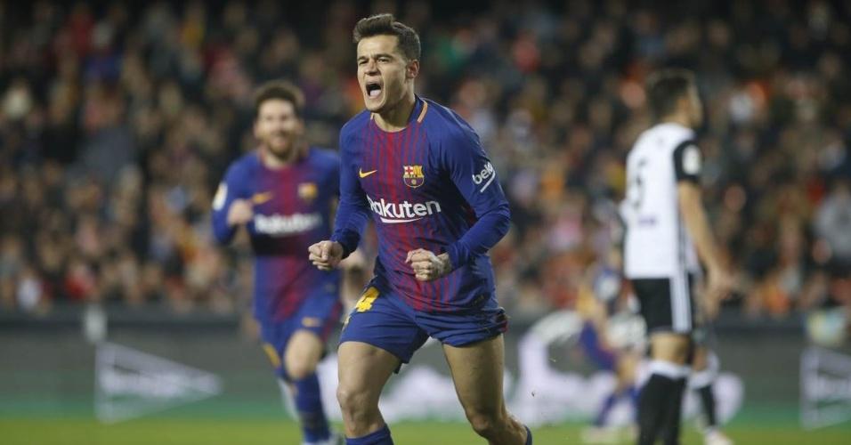 Coutinho vibra com seu primeiro gol com a camisa do Barcelona