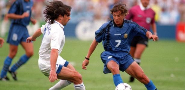 Caniggia vestiu a camisa da Seleção Argentina 50 vezes e anotou 16 gols - Rick Stewart/Getty Images