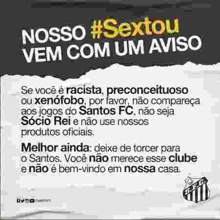 Santos divulga comunicado contra o preconceito  - Reprodução