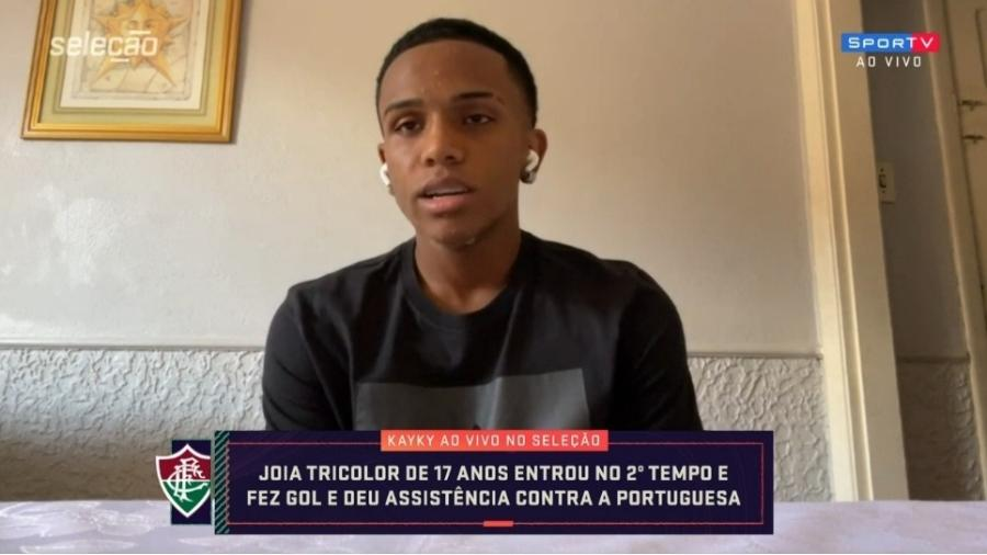 Kayky, do Fluminense, destaca momento único e ansiedade por ida para o City - Reprodução/SporTV