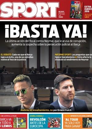 'A cada vez que o Barcelona conquista um sucesso, uma de suas estrelas volta ao foco da justiça', diz primeira página do 'Sport'