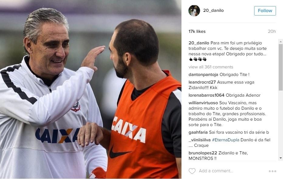 Danilo faz homenagem a Tite no Instagram