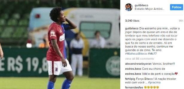 Guilherme Biteco lamenta falta do irmão após seu retorno ao futebol