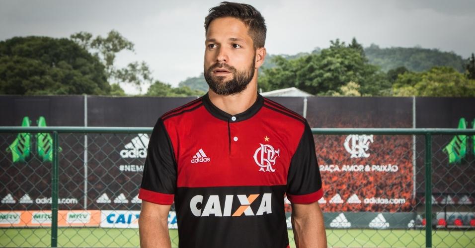Diego foi o modelo do lançamento da nova camisa do Flamengo