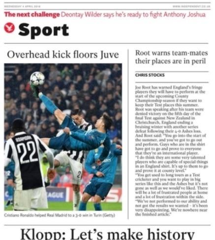 The Independent se impressiona com altura alcançada por Ronaldo no chute