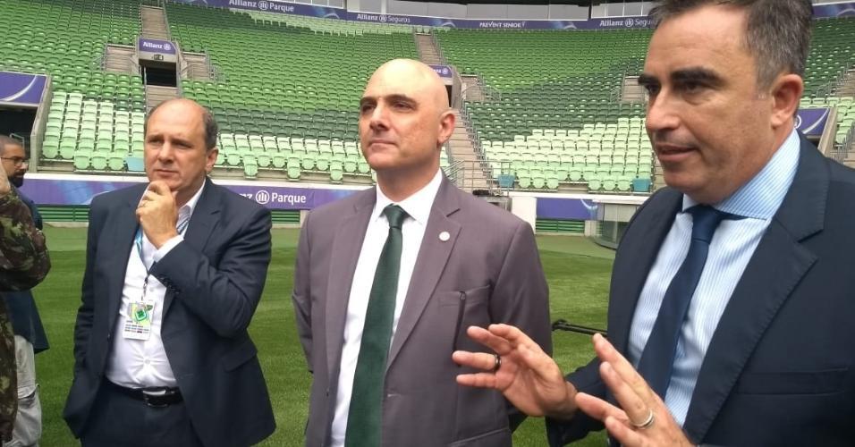 Luis Davantel, Mauricio Galiotte e Alessandro Oliveira no Allianz Parque
