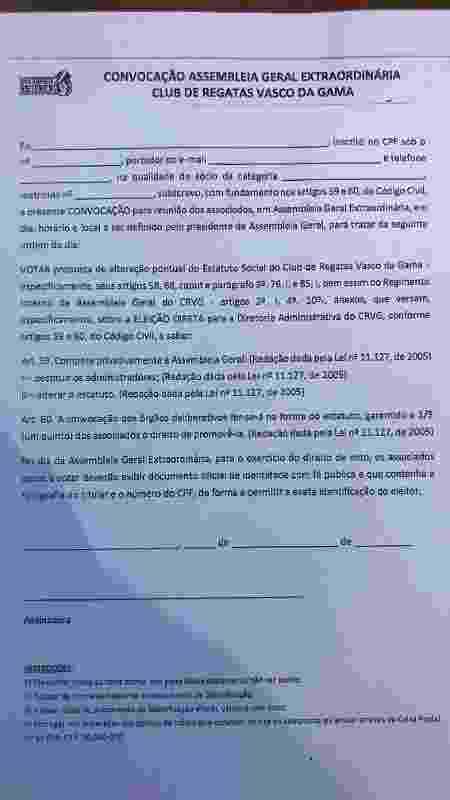 """Ficha de assinatura da """"Nova Resposta Histórica"""" para sócios-estatutários do Vasco - Bruno Braz / UOL Esporte"""