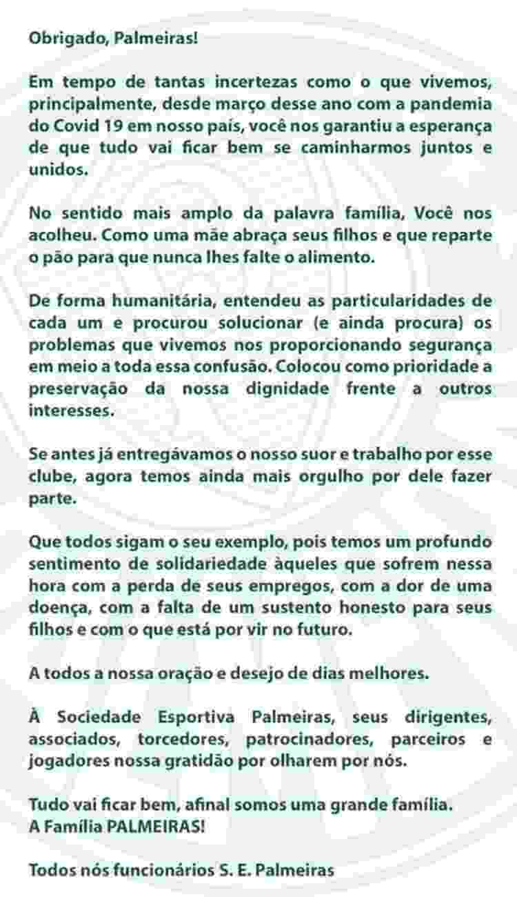 Carta de funcionários do Palmeiras sobre ação do clube durante a pandemia - Reprodução - Reprodução