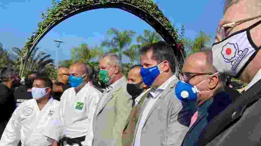 Dirigentes reunidos para inauguração de praça no Rio - Reprodução/Federação de Judô do Rio