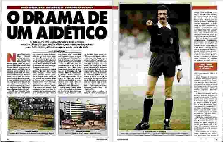 Reportagem da Placar de dezembro de 1988 sobre o árbitro Roberto Nunes Morgado - Reprodução - Reprodução