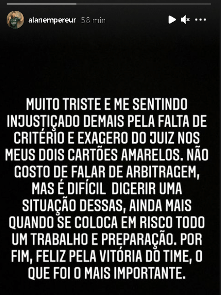 Alan Empereur, do Palmeiras, questionou expulsão na Libertadores - Reprodução