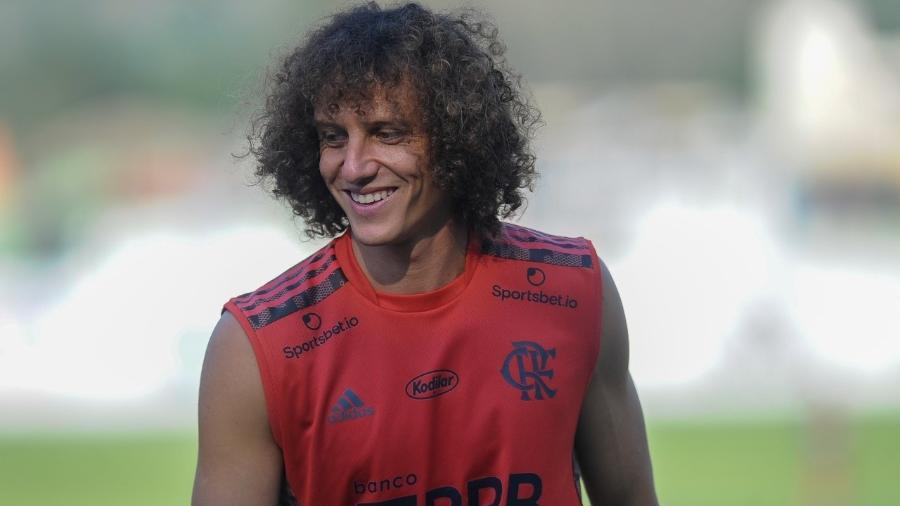 David Luiz em treino no Ninho do Urubu - Marcelo Cortes/CRF