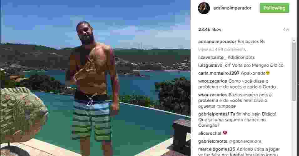 Adriano está sem clube desde que deixou os Estados Unidos. Sem clube ainda e sem saber se voltará ao mundo da bola, ele tem ostentado algumas paisagens - Reprodução/Instagram