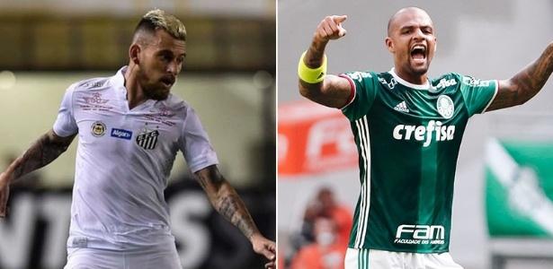 Lucas Lima e Felipe Melo fazem um duelo particular na Vila Belmiro - Montagem/UOL