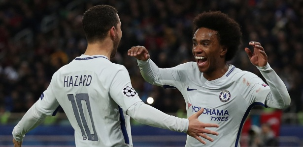 Willian marcou o segundo gol do Chelsea contra o Qarabag