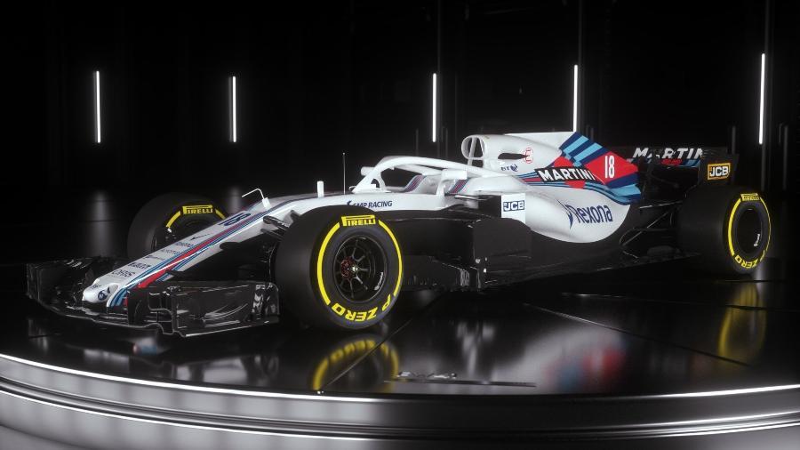 As cores da Martini se mostram presentes no carro da Williams - Divulgação