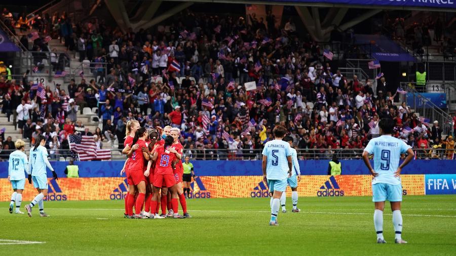Seleção feminina dos EUA cobram US$ 67 milhões com base em Lei de Igualdade Salarial; equipe venceu a Copa do Mundo 2019 - Lionel Bonaventure/AFP