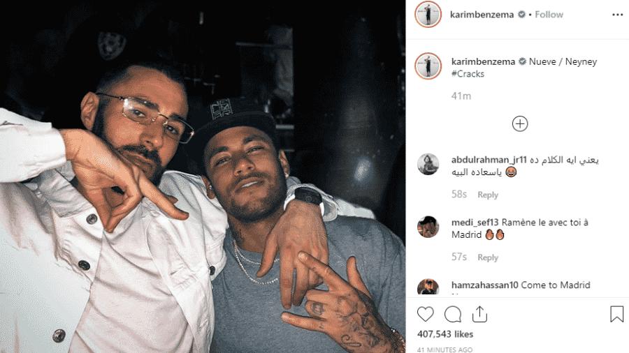 Benzema e Neymar juntos em foto no Instagram - Reprodução Instagram