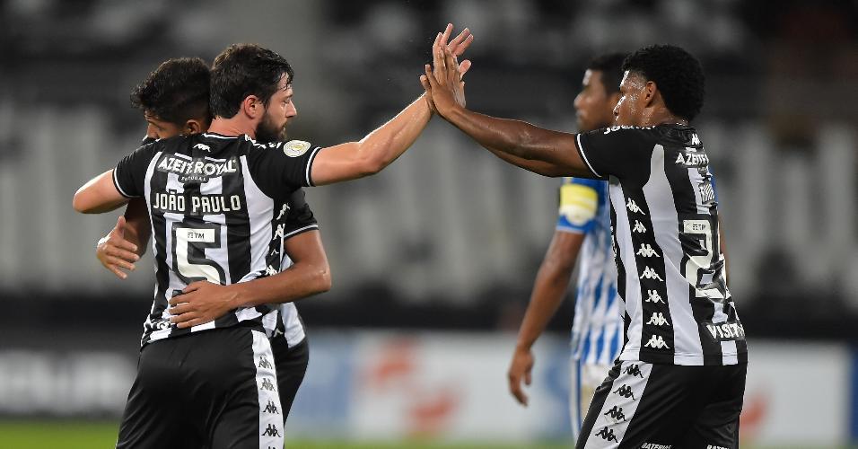 Jogadores do Botafogo comemoram o gol contra do Avaí durante partida pelo Campeonato Brasileiro