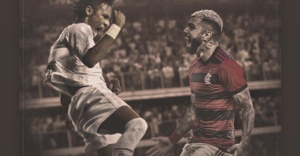 Gabigol comemorou ao alcançar a marca de 43 gols na temporada, melhor marca de Neymar em um ano
