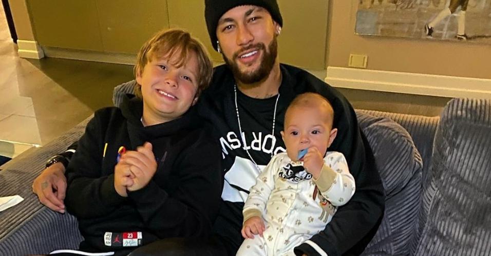 Neymar com Davi Lucca e Valentin