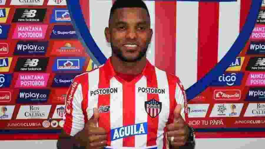Miguel Borja, ex-Palmeiras, é um dos principais jogadores do Junior de Barranquilla - Divulgação
