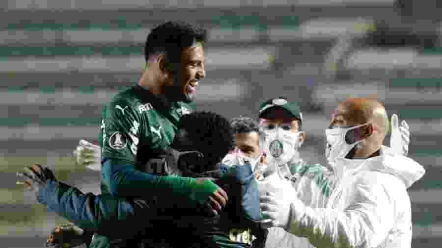 Gabriel Menino comemora gol marcado pelo Palmeiras sobre o Bolívar em jogo da Libertadores 2020 - David Mercado - Pool/Getty Images