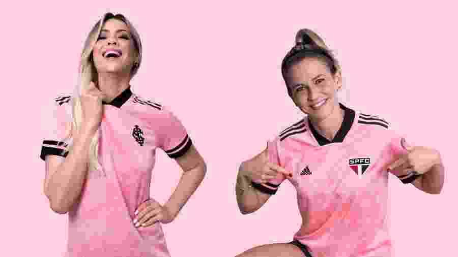 Renata Fan veste a camisa do Internacional e Ale Xavier a do São Paulo em campanha da Adidas - Divulgação