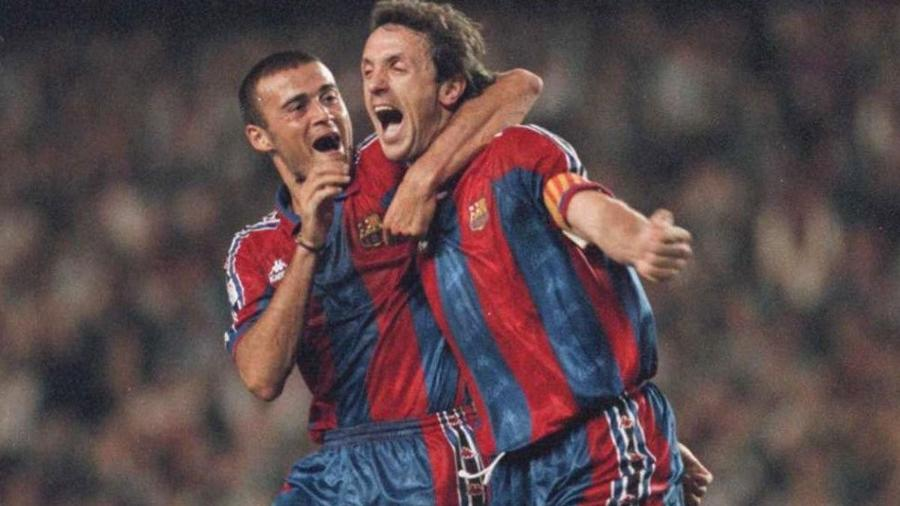 Gheorghe Popescu, ao lado de Luis Enrique, quando ambos jogavam pelo Barcelona - Divulgação