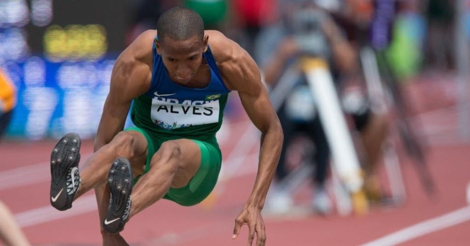 Higor Alves participa da prova de salto em distância. Brasileiro terminou na terceira colocação e se classificou
