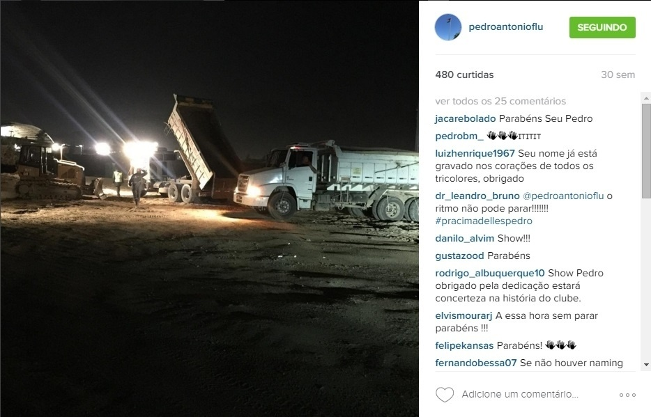 E as obras no CT do Flu seguem noite adentro