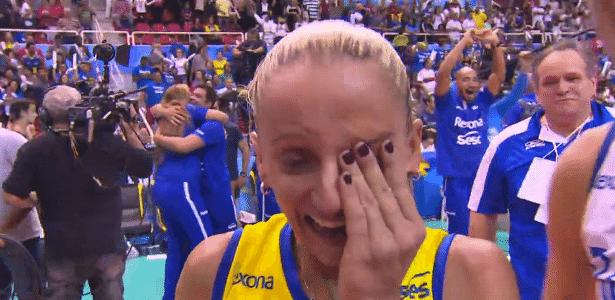 Fabi chora após décimo título - TV Globo/Reprodução