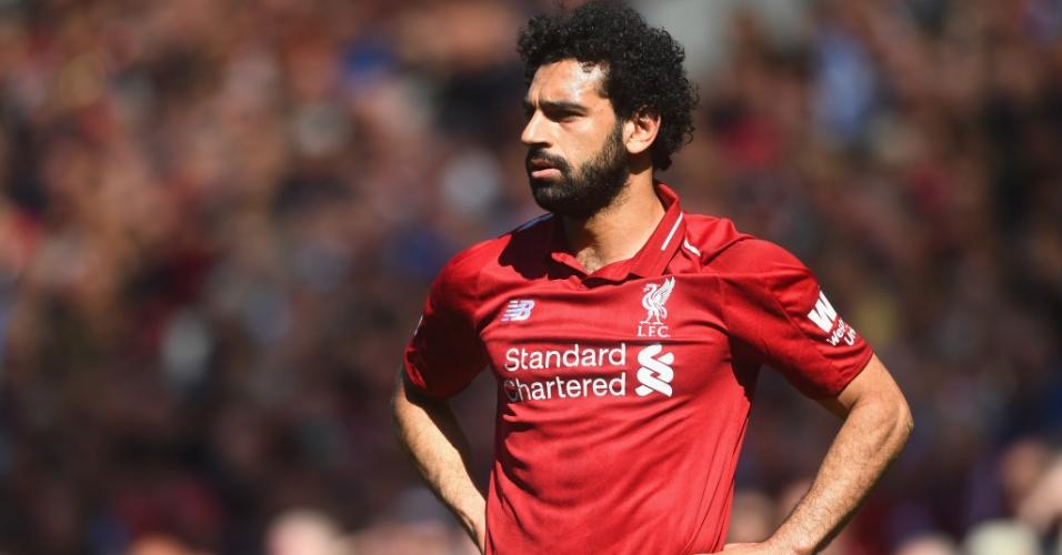 Salah chegou ao Liverpool em 2017 e já celebrou uma temporada dos sonhos: melhor jogador da Premier League, recorde de gols na liga inglesa (32) e final da Liga dos Campeões