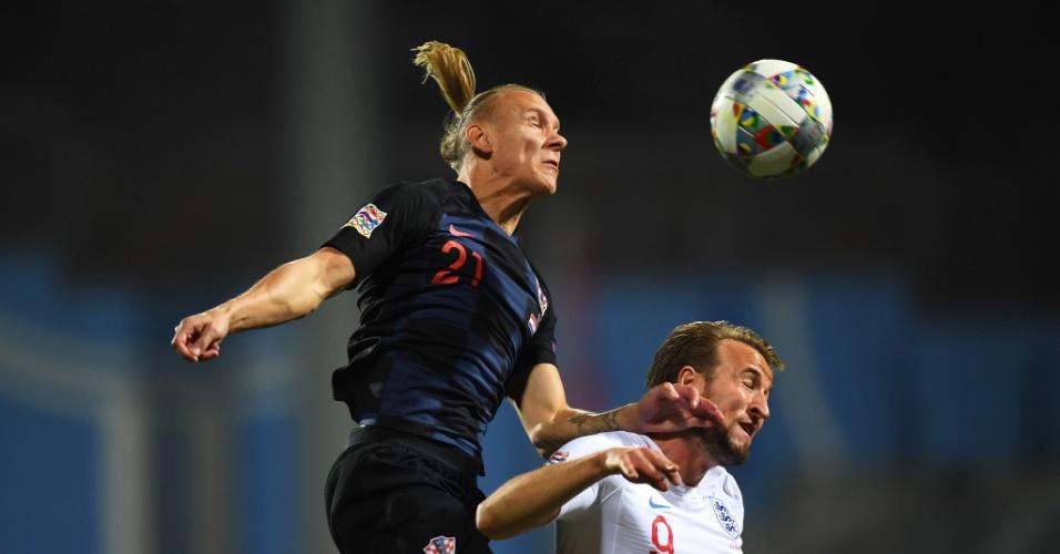 Vida e Harry Kane disputam bola no confronto entre Croácia e Inglaterra pela Liga das Nações