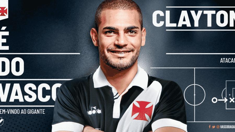 Atacante Clayton, de 23 anos, foi anunciado pelo Vasco oficialmente. Ele chega por empréstimo do Atlético-MG - Reprodução / Twitter do Vasco
