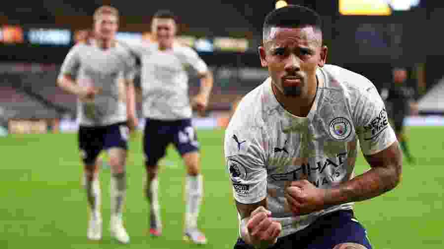 Gabriel Jesus comemora gol do Manchester City contra o Wolverhampton - Marc Atkins / POOL / AFP