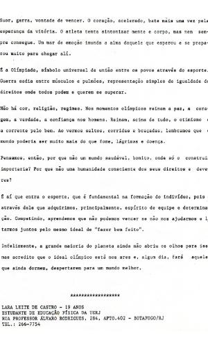 24.jun.2015 - Carta enviada pela estudante de educação física Lara Leite de Castro fez com que ela se tornasse, em 1992, a primeira brasileira a conduzir a tocha dos Jogos Olímpicos.