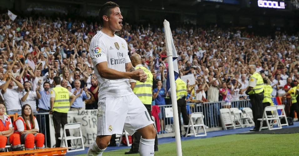 James Rodríguez comemora após marcar belo gol de falta pelo Real Madrid